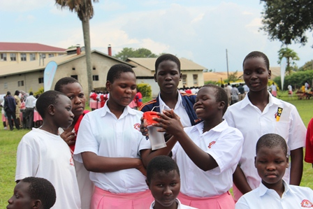 Students of Sacred Heart Girls solar club admire the lamps